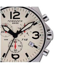 Montre Torgoen T16 202 - boîtier acier, cadran ivoire et bracelet acier