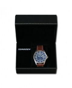 Montre Torgoen T25 103 - boîtier acier, cadran bleu et bracelet marron en cuir