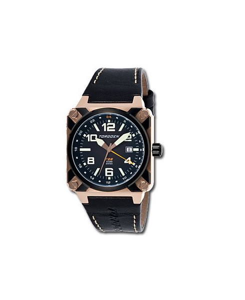 Montre Torgoen T26 105 - boîtier doré, cadran noir et bracelet noir en cuir