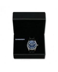 Montre Torgoen T28 101 - boîtier acier, cadran noir et bracelet noir en cuir