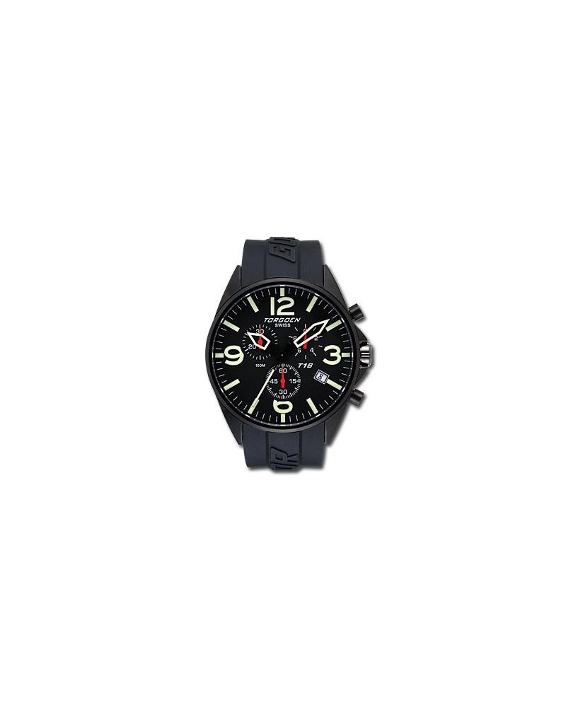 Montre Torgoen T16 301 - boîtier noir, cadran noir et bracelet noir en caoutchouc
