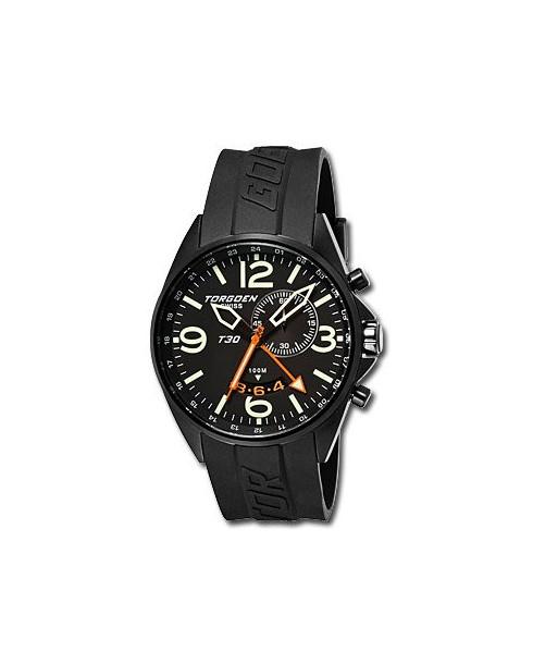 Montre Torgoen T30 301 - boîtier noir, cadran noir et bracelet noir en caoutchouc