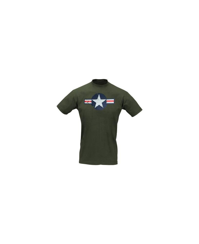 Tee-shirt cocarde américaine WW II kaki - Taille L