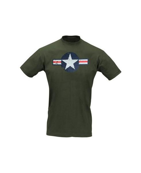 Tee-shirt cocarde américaine WW II kaki - Taille S