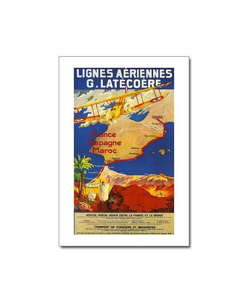 Carte Postale Lignes Aeriennes G Latecoere France Espagne Maroc
