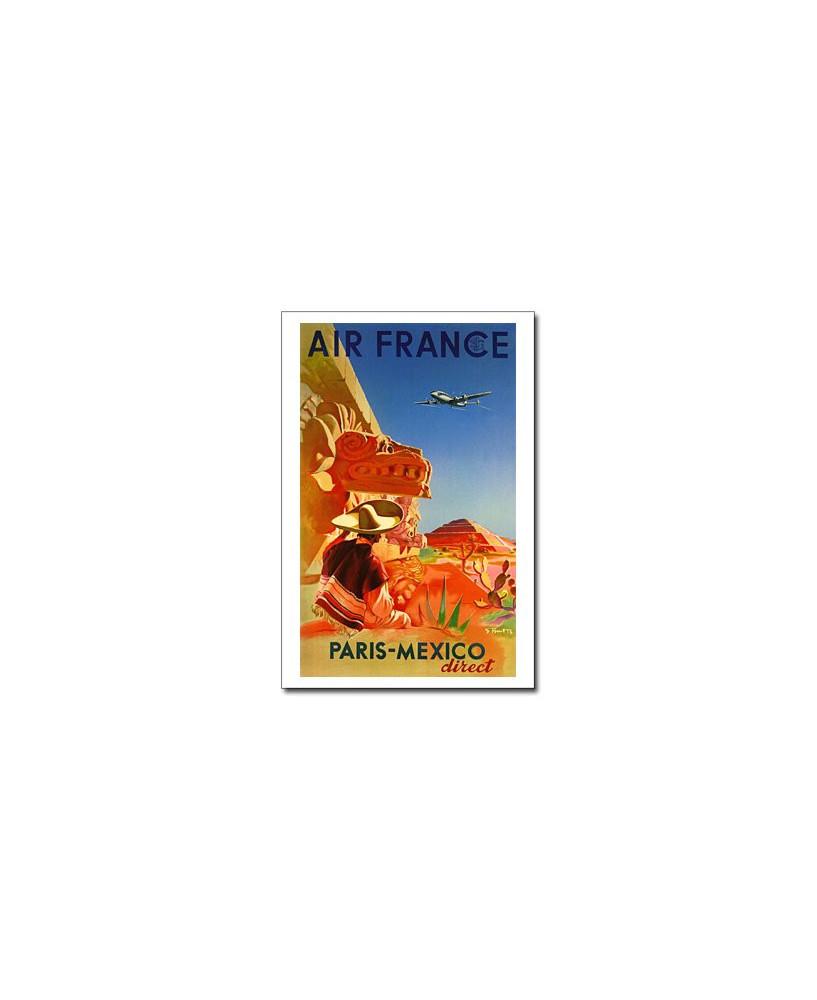 Carte postale Air France, Paris - Mexico