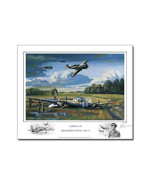 Poster Curtiss Hawk H75, Edmond MARIN LA MESLEE