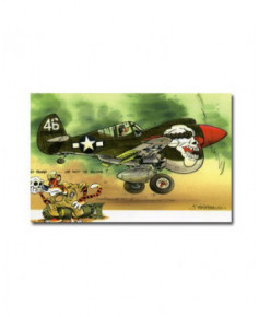 Carte postale humoristique Curtiss P40N Warhawk