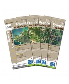 12508_Lot des 4 cartes 2021 1/500 000e France entière version PAPIER