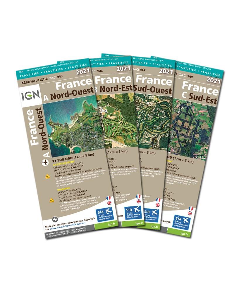 12509_Lot des 4 cartes 2021 1/500 000e France entière Version PLASTIFIEE