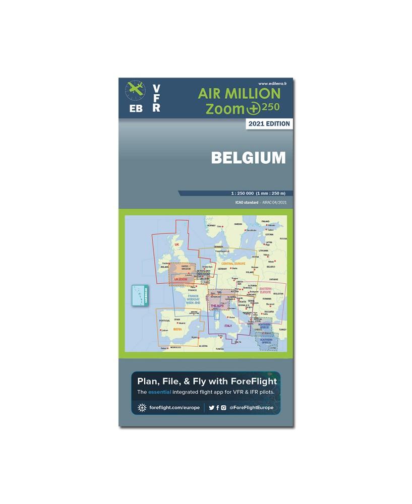 Carte 2021 1/250 000e V.F.R. Belgique Air Million