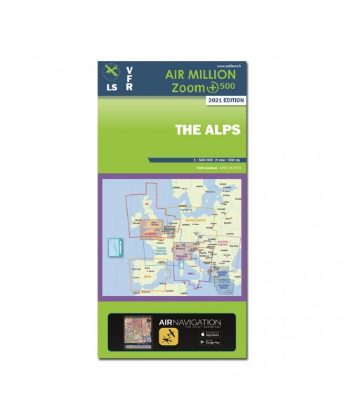 Carte 2021 1/500 000e V.F.R. Alpes Air Million