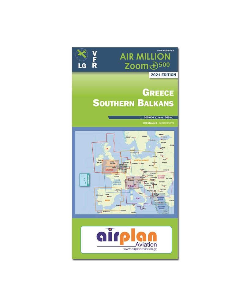 Carte 2021 1/500 000e V.F.R. Sud de la Grèce Air Million Zoom