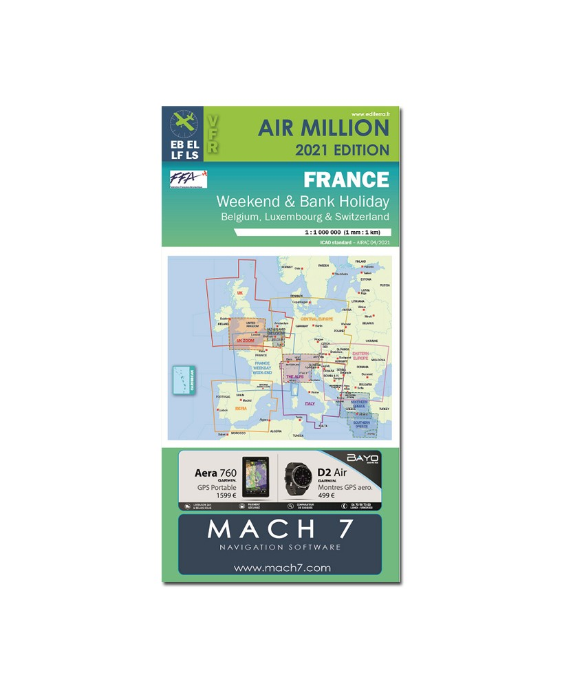 Carte 2021 1/1 000 000e V.F.R. France -  WEEK-END Air million