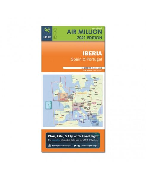 Carte 2021 1/1 000 000e V.F.R. Iberia Air Million