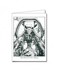 Carte de correspondance - illustration de J.-L. BEGHIN : Cockpit du P51D Mustang