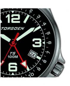 Montre Torgoen T05 101 - boîtier acier, cadran noir et bracelet noir en cuir