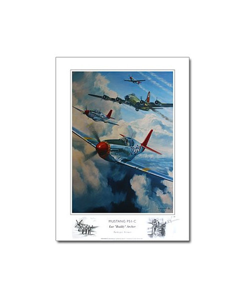 Poster Mustang P51C, Lee ARCHER, Tuskegee Airmen