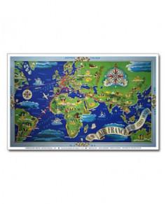 Affiche Air France, Planisphère réseau aérien mondial (mer bleue)