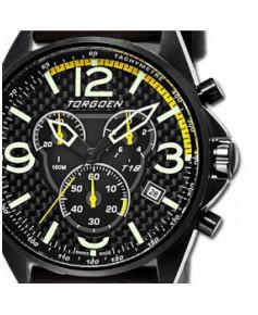 Montre Torgoen T18 103 - boîtier acier, cadran noir et bracelet noir en cuir