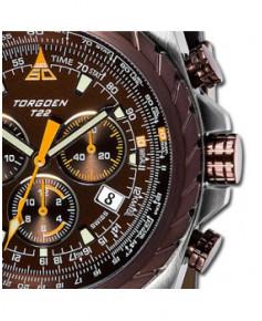 Montre Torgoen T22 102 - boîtier acier, cadran cuivré et bracelet marron en cuir
