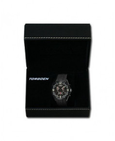 Montre Torgoen T18 302 - boîtier acier, cadran noir et bracelet noir en caoutchouc