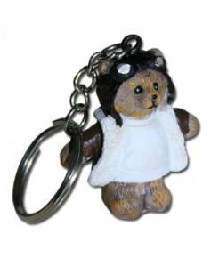 Porte-clés ourson aviateur résine