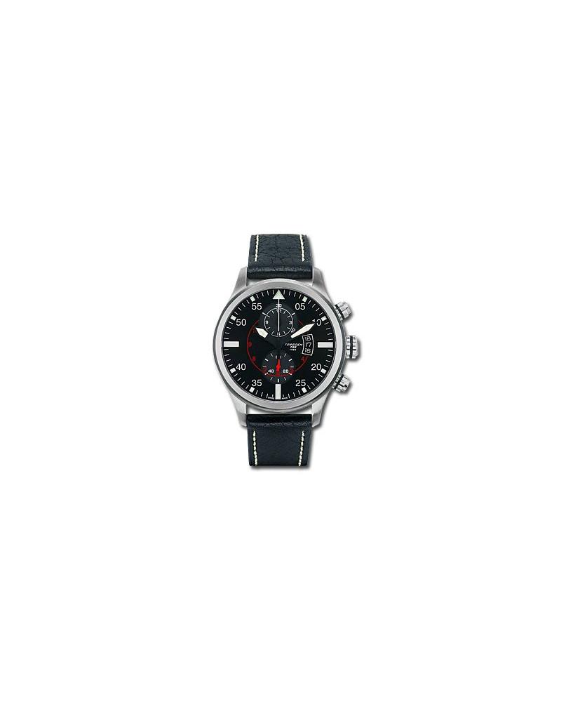 Montre Torgoen T33 101 - boîtier acier, cadran noir et bracelet noir en cuir
