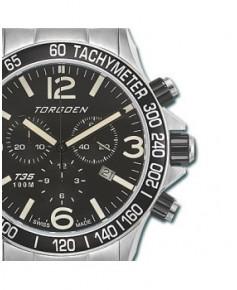 Montre Torgoen T35 201 - boîtier acier, cadran noir et bracelet acier