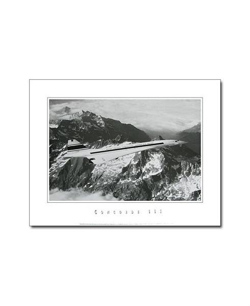 Poster noir et blanc Concorde Prototype sur les Pyrénées