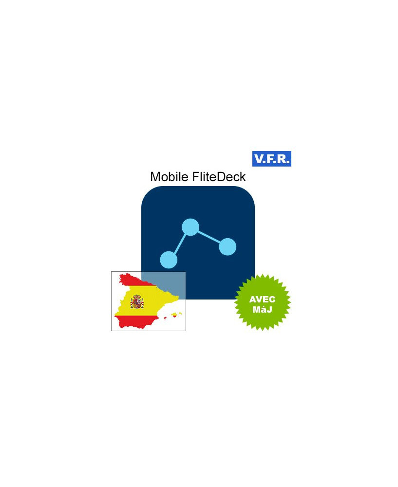 Mobile FliteDeck V.F.R. Espagne avec mise à jour pendant 1 an
