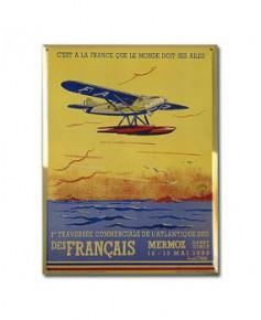 Plaque métal 1ère traversée commerciale de l'Atlantique Sud des Français