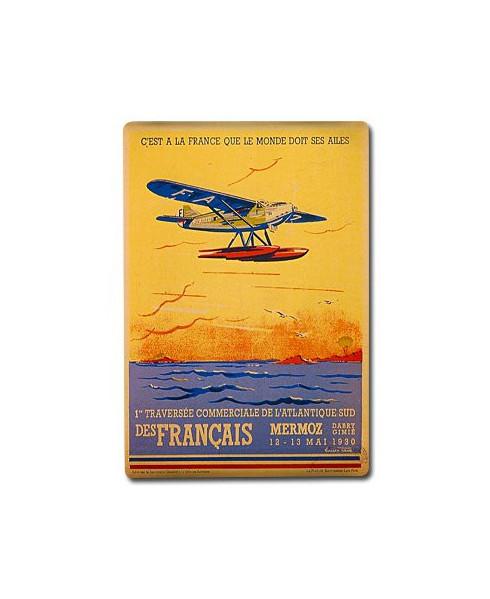 Plaque décorative 1re traversée commerciale de l'Atlantique Sud des Français