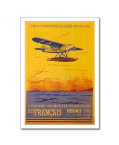 Carte postale 1er traversée commerciale de l'Atlantique Sud des Français