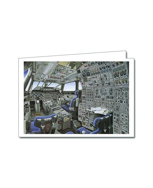Carte de correspondance - illustration E. CELERIER : Poste de pilotage Concorde