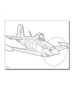 Set de coloriage Planes - Avec 1 palette de 6 couleurs à l'eau et 1 pinceau