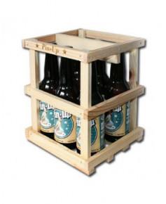 Lot de 6 bouteilles de bière blonde Pin-Up avec sa caissette en bois