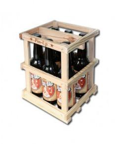 Lot de 6 bouteilles de bière rousse Pin-Up avec sa caissette en bois