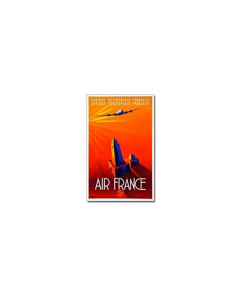 Affiche Air France, Afrique occidentale et équatoriale Française (petit modèle)