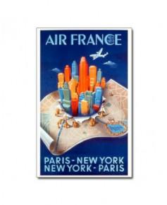 Affiche Air France, Paris - New York - Paris (petit modèle)