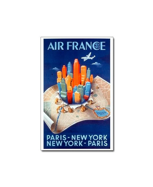Affiche Air France, Paris - New York - Paris (petit modèle)