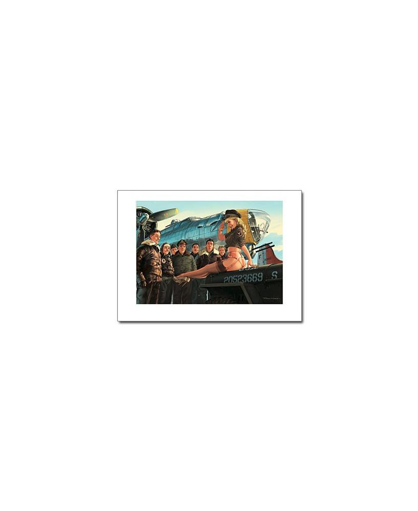 Affiche Pin-Up sur la Jeep - Romain HUGAULT - 70 x 50 cm
